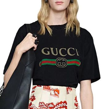 Gucci Summer Women Men Casual Print Cotton T-Shirt Tunic Top Blouse Black