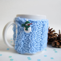 Knit Snowman Coffee Cup Cozy – Coworker Christmas Gift or Stocking Stuffer – Cabled Coffee Mug Cozy with Snowman Button - Blue Cup Cozy