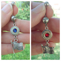 Bullet jewelry. Belly button ring with bullet casing and flag. 4th of July jewelry.