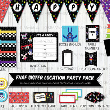 Five Nights at Freddy, Sister Location, Party Pack, Birthday Party Decorations, Circus Baby, Funtime Freddy, Foxy, Ballora, DIY (unofficial)