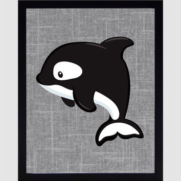 Whale Orca on Gray Linen Background Arctic Animal nursery art decor nursery print kids art baby room decor kids print You choose colors 8x10