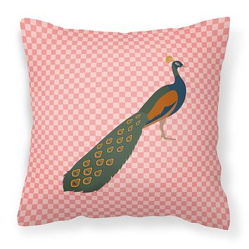Indian Peacock Peafowl Pink Check Fabric Decorative Pillow BB7925PW1818