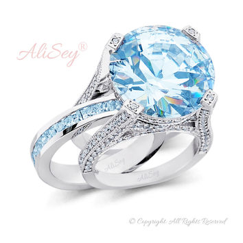 14K White Gold, Sky Blue Topaz with Diamonds Wedding Set. Style # ASR07WG-BTZ
