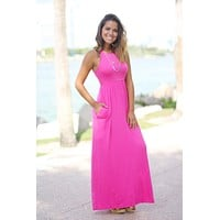 Pink Maxi Dress with Pockets