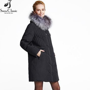 Plus Size Winter Down Coat Jacket w/ Real Fox Fur Collar
