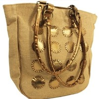 Stylish Jute Shoulder Tote Bag with Leather Patchwork Beautiful Handbags for Women & Girls