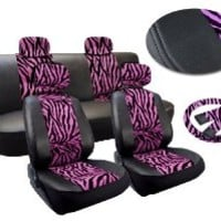 Pink Zebra Deluxe Leatherette 13pc Full Car Seat Cover Set Premium Synthetic Leather Double Stitched - Low Back Front Bucket Seats - Rear Bench - Steering Wheel Set - 4 Headrests