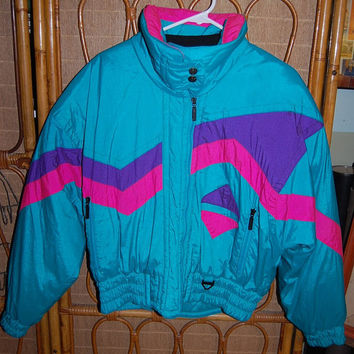 Vintage 80s Tyrolia Skiwear Microseal Waterproof Thermoloft Tribal Geometric Abstract Graphic Aqua Purple & Fuchsia Puffy Ski Jacket Size 10