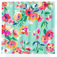 Floral SHOWER CURTAIN Mint Pink Flowers Custom MONOGRAM Personalized Bathroom Decor Bath Beach Towel Plush Bath Mat Made in Usa