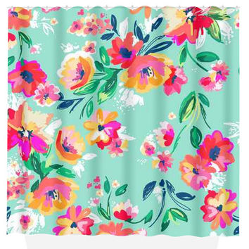 Best pink floral shower curtain products on wanelo floral shower curtain mint pink flowers custom monogram personalized bathroom decor bath beach towel plush bath mightylinksfo