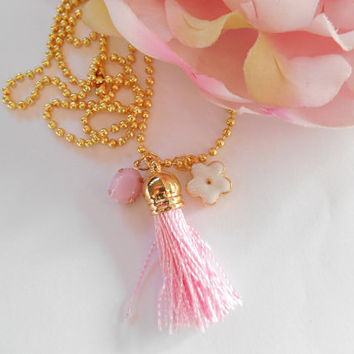 Pink And White Gold Necklace
