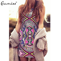 Summer Women Vintage Geometric Print Mini Boho Dress Casual Dresses