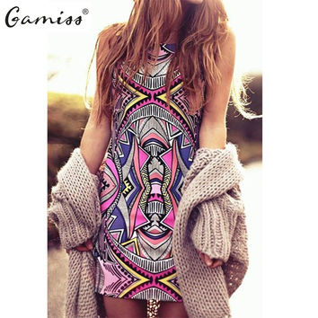 Sexy Boho Dress  Casual Party Beach Dresses Plus SizeGamiss  Summer Style Women New Fashion Vintage Geometric Print M