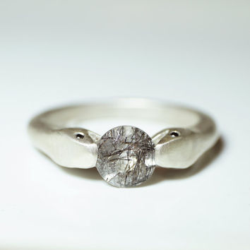 Double Headed Snake Ring in Sterling Silver with Black Rutilated Quartz and Diamonds