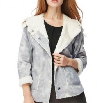 Rebellious Hearts Faux Suede Shearling Moto Jacket in Gray | Sincerely Sweet Boutique