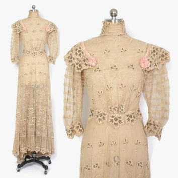 Victorian Lace DRESS / Vintage Heavily Embroidered Metallic Gold & Ivory Net Lace Bridal Wedding Gown XS