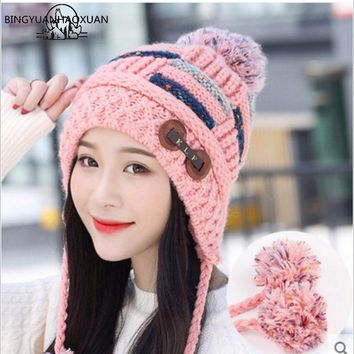 BINGYUANHAOXUAN2017 New Cotton Casual Winter Knitted Hats For Women Beanies Crochet Hat Female Gorro Skullies Women Knitted Hat