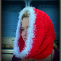 Christmas Cowl, Red Hooded Cowl, Hooded Cowl, Fur Trimmed Cowl
