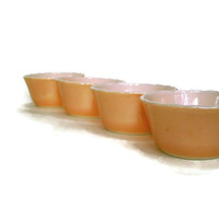 Vintage Fire King, Glass Custard Cups, Anchor Hocking, Peach Lustre, Scalloped Edge, Ramekin,  Ovenware, Set of 4, Vintage Kitchen,