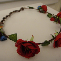 Beautiful Dark Red and Dark Blue Rose Floral by elementalfixation