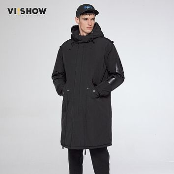VIISHOW 2017 New Clothing Jackets Business Long Thick Winter Coat Men Solid Parka Fashion Overcoat Black Color Outerwear MC36764