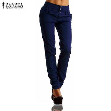 ZANZEA Women Pants 2016 Autumn High Waist Buttons Zipper Solid Long Trousers Casual Slim Pencil Pants Fashion Capris