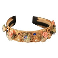 Gold Floral Pearl and Rhinestone Hairband