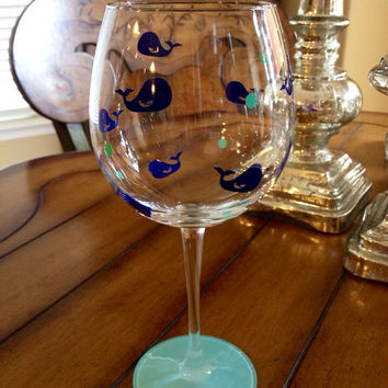 Whale Personalized Wine Glass, Custom Wine Glass, Ocean Wine Glass