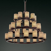 Justice Design Group POR871210WAVEDB Limoges Dakota 36-Light Dark Bronze Three-Tier Ring Chandelier
