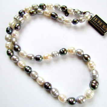 Cultured Pearl Necklace Grey & White Sterling Clasp Honora