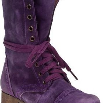Steve Madden Troopa Combat Boot Purple Leather - Jildor Shoes, Since 1949