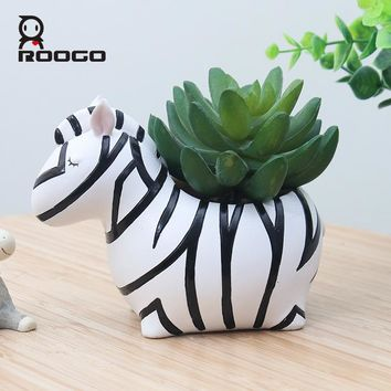 Roogo Cartoon Succulent Planter nursery Pot polyresin Creative  Animals  Shape Desktop Decoration Flower Pots Exquisite gift