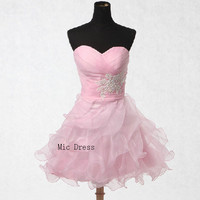 Sweetheart sleeveless mini organza with appliques tiered bridemaid /homecoming dresses