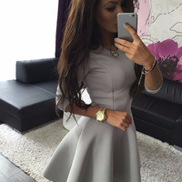 New Women Ladies 3/4 Sleeve Sexy Winter Evening Party Bodycon Mini Skater Dress