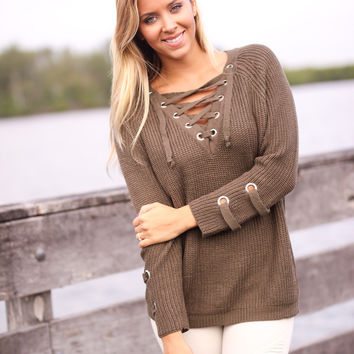 Dark Olive Lace Up Sweater