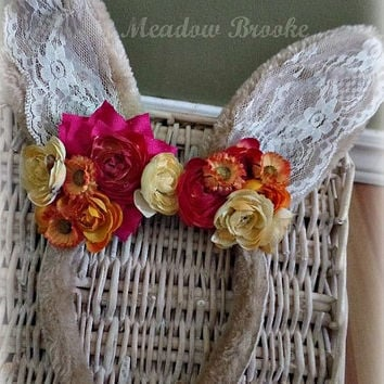 BUNNY EARS, headband, baby toddler girl, lace, flower, photo prop, burlap, couture, matilda jane, rose, shabby, sassy, chic, wolf, Easter
