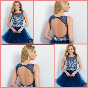 2015 attractive short cocktail dresses blue a line with scoop neckline beading crystals hollow back sexy glitter cocktail dress