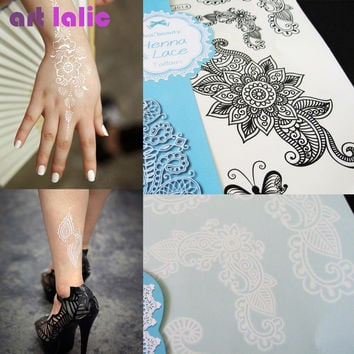 1 Pc Hot Flash Waterproof Tattoo Women White Black Ink Henna Lace Dreamcatcher Shell Braclet Temporary Tattoo Sticker