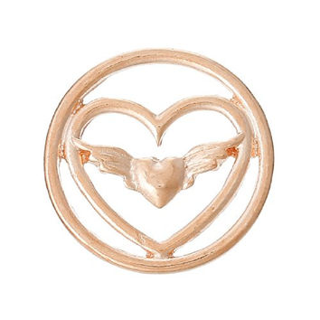 Heart With Wings Floating Charms Dish Plate for Glass Locket Pendants
