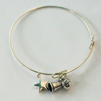 Acorn and Thimble Solid Sterling Silver Bangle Bracelet, Peter Pan and Wendy Hidden Kisses Second Star Right