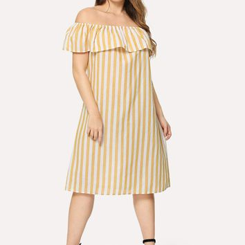 Plus Flounce Layered Neck Striped Dress