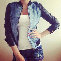 Women New Fashion Jean&Denim Coat with PU Sleeve = 1929757636