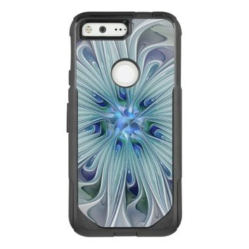 Floral Beauty Abstract Modern Blue Pastel Flower OtterBox Commuter Google Pixel Case