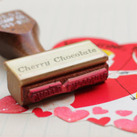 Vintage Rubber Stamp - Cherry Chocolate - Handstamp 1970s Wood Handle Vintage Office Supplies from an Old Candy Making Business