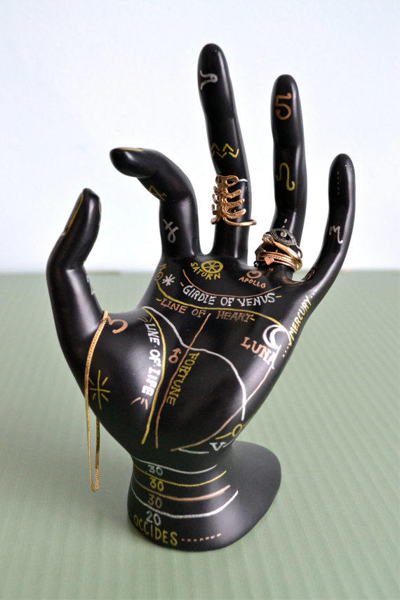 Palmistry Jewelry Display Hand Painted From