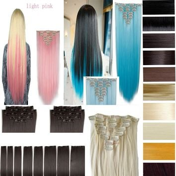 "26"" (66cm) 170g Straight 8pcs/set Full Head Clip in Hair extensions Color Hair Blue Purple Pink Blonde Brown Gray Synthetic Hair"