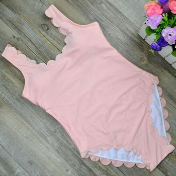 Fashion sexy hot scalloped vest type one piece bath suit Pink