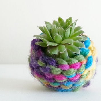 Shabby Chic Decor~ Bohemian Home Decor~ Boho Dorm Decor~ Handmade Succulent Planter~ Air Plant Pot~ Mini Planter~ Rainbow Crochet~ Gypsy