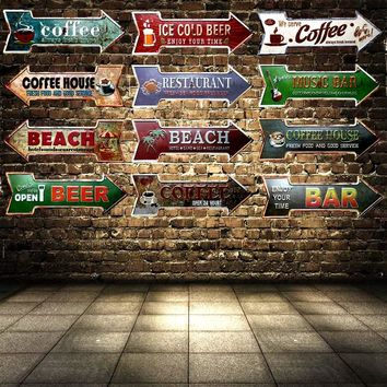 Arrow Metal Irregular Tin Signs   Art Decor Mancave, Garage