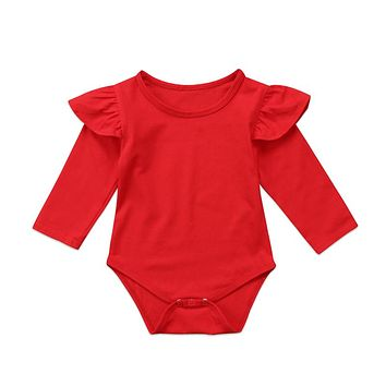 Christmas Bodysuit Newborn Kid Baby Girls Red Long Sleeve Jumpsuit Infant Outfits Clothes Xmas Baby Girl Clothes Baby Clothing
